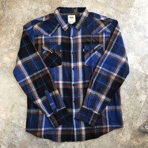 💙men's Levi's  plaid button down shirt